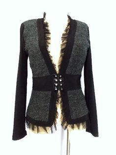 Joseph Ribkoff Jacket Sz M Ruffle Zip Boucle Gray Black Blazer Deep Plunge