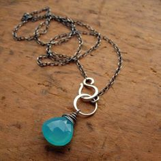 Aqua Chalcedony Gemstone & Sterling Silver Hook Clasp Necklace - $35.00