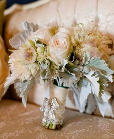 Neutral Wedding Bouquet - look at the exquisite ribbon brooch and lace bouquet wrap.