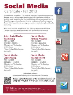 Starting this fall, the Triton College School of Continuing Education is offering a Social Media Certificate. Learn how to effectively use social media to market a business!
