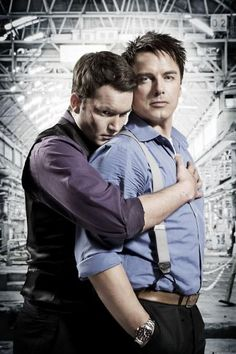 'Ianto Jones' aka Gareth David-Lloyd, and Captain Jack Harkness aka John Barrowman from the show Torchwood. Doctor Who, John Barrowman, Torchwood, Sherlock, Gareth David Lloyd, Captain Jack Harkness, Actors, Sci Fi Fantasy, Dr Who