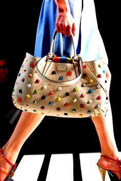 colorful studded handbag