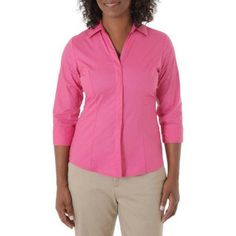 Riders by Lee Women's Classic 3/4 Sleeve Wrinkle Resistant Career Shirt, Size: Medium, Red