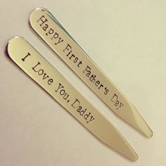 "FATHER'S DAY GIFT - Collar Stays ""Happy First Father's Day"" - ""I Love You Daddy"" - New Dad Gift"