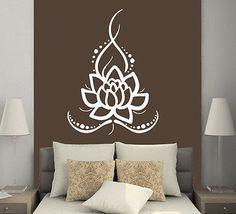 Ornamento de la flor de loto de pared calcomanías pegatina de vinilo decoración del hogar Boho Bohemio MS625
