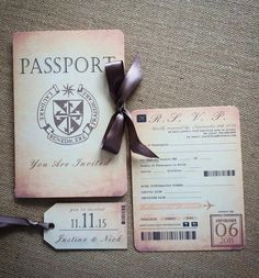 Vintage Passport & Boarding Pass Destination Wedding Invitation Suite with Luggage Tag Enclosure Card
