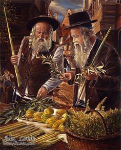 Hiddur Mitzvah (Selecting the Willow, Myrtle, and Etrog) painting by Alex Levin