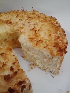 Toasted coconut angel food cake