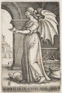 "Avarice (Avaritia); Georg Pencz (German, c. 1500-1550); Engraving; Sheet: 3-1/4"" x 2-1/8"" (8.2 x 5.4 cm); Philadelphia Museum of Art"