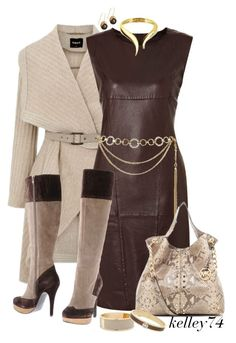 """""""Leather Dress for Fall"""" by kelley74 ❤ liked on Polyvore featuring Burberry, Weekend Max Mara, Giuseppe Zanotti, Forever 21, Arena Copenhagen, Tosca Blu, MICHAEL Michael Kors, MOOD and Henri Bendel"""