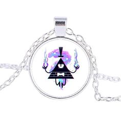 New Popular Steampunk Drama Gravity Falls Mysteries Bill Cipher Wheel Pendant Necklace Glass Mens Handmade Jewelry