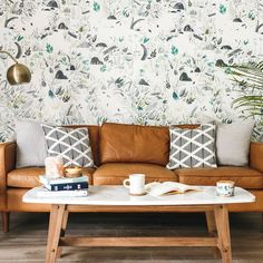 Shop the Anewall Ophelia Modern Classic Mermaid Oasis Removable Wallpaper and other Removable Wallpaper at Kathy Kuo Home Geometric Wallpaper Living Room, White Wallpaper, Trendy Wallpaper, Wall Wallpaper, Wallpaper Designs, Bedroom Wallpaper, Wallpaper Ideas, Wallpaper Wallpapers, Accent Wallpaper