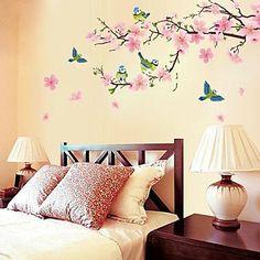 romantische kersenbloesem vormige slaapkamer / woonkamer / tv achtergrond muur sticker – EUR € 9.99