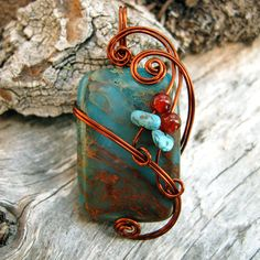Copper Wire Wrapped Pendant - Blue Impression Jasper Necklace