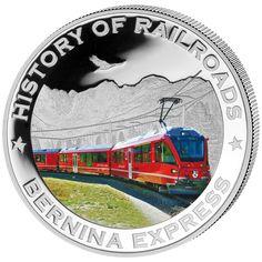 "History of Railroad ""Bernina Express"" Silver Coin Bernina Express, Coins For Sale, Liberia, Coin Collecting, Silver Coins, Diamond Rings, Warriors, Butter, Canada"