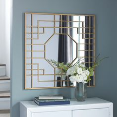 art deco interior The Cristobal Accent Mirror by Signature Design by Ashley Furniture adds spiffy flair to your room. Goldtone metal forms geometric design with art deco vibe. Art Deco Furniture, Retro Furniture, Furniture Layout, Simple Furniture, Mirrored Furniture, Furniture Logo, Steel Furniture, Farmhouse Furniture, White Furniture