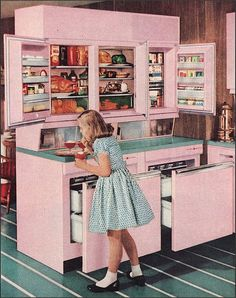 A 1957 refrigerator from G.E. It's a shame this design didn't really take off.