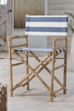 Bamboo Director Navy & White Stripes Chairs - Set of 2//