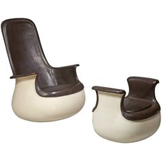 """""""Culbuto"""" Armchair and its Ottoman by Marc Held c1967"""