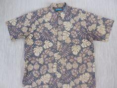 Vintage Hawaiian Shirt GO BAREFOOT Mens Floral Mosaic Reverse ...