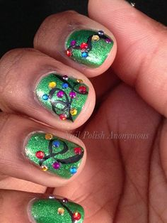 Nail Polish Anonymous: 12 Days of Christmas Nail Art Challenge Day 4: Christmas Lights
