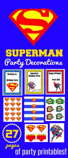 27 Pages of Superman Birthday Party Decorations Perfect fun for preschool and preK! Superman Birthday Party, Birthday Party Games, Superhero Party, Birthday Fun, Birthday Ideas, Superman Party Decorations, Birthday Party Decorations, Superman Invitations, Adoption Party