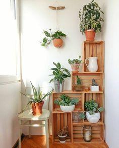 exemple-de-etagere-cagette-jardniere-pour-les-plantes-d-interieur-chaise-en-bois-parquet-clair-rangement-asymetrique-a-plusieurs-etages #huertaenbalcon