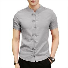 Chinese Style Single Breasted Chinese Buttons Vintage Shirts for Men Buy Chinese Style Single Breasted Chinese Buttons Vintage Shirts for Men online with cheap prices and discover fashion Shirts at . Formal Shirts For Men, Men Formal, Men Shirts, Shirt Men, Collar Shirts, Mens Designer Shirts, Designer Suits For Men, Indian Men Fashion, Mens Fashion Suits
