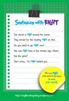 Sentences with RIGHT