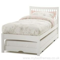 Mya #guest #bed frame is painted in a crisp white finish