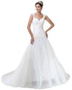 Faironly 0075 White Straps Wedding Dress