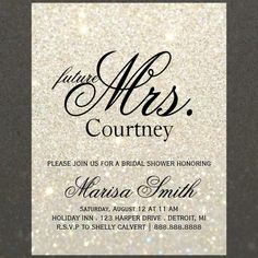 Fun Modern Glitter Bridal Shower Invite. Easily customizable using the customize it button, change background color, image, text color, text size, spacing, to suit your occasion. Future Last name as shown is double-spaced, use single-space or decrease text size if needed. ***Please note when pairing or matching items the White Gold Glit Fab items are not the same as the Gold Glit Fab items, please pick items that have the same name/tone.*** Using the customize it button change your invite to…