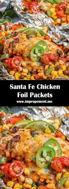 These grilled Santa Fe chicken foil packets are perfect for a quick grilled dinner. Filled with fresh veggies, chicken and Mexican flair! Chicken Foil Recipes, Chicken In Foil, Chicken Foil Packets, Grilled Foil Packets, Recipe Chicken, Foil Pack Meals, Foil Dinners, Healthy Eating Tips, Healthy Recipes