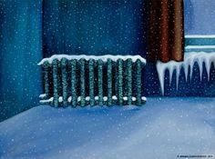 KALERVO PALSA Cold Room (1974) Birches, Illustration Art, Illustrations, Seas, Finland, Art Gallery, Cold, Artists, Drawings