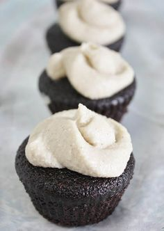 Guinness Chocolate Vegan Cupcakes with Vanilla Whiskey Frosting