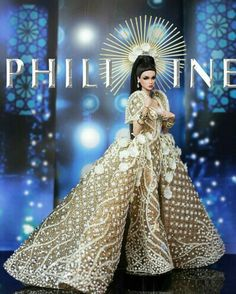 Best National costume of Miss Galaxy Doll 2019 Barbie Gowns, Barbie Clothes, Barbie Fashion Royalty, Fashion Dolls, Philippines Dress, Modern Filipiniana Gown, Filipino Fashion, Barbie Bridal, Barbie Miss
