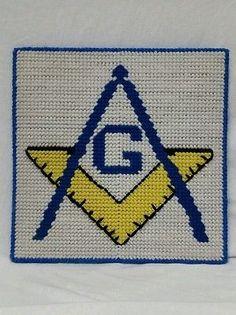 "Vintage 1960's Era Hand Embroidered ""Freemason Lodge Emblem"" Decorative Piece"