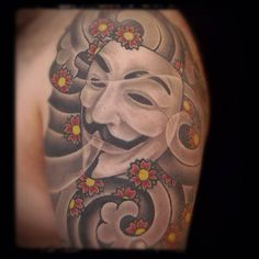 With its moustache and sly grin, the Guy Fawkes mask tattoos are one of the most prominent symbol for rebellion and resistance to authority. Description from blog.tattoodo.com. I searched for this on bing.com/images