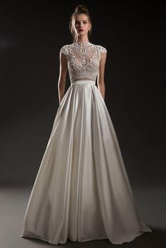 Beautiful Sleeveless and Backless Ivory Embellished A-Lane Wedding Dress / Bridal Gown with Open Back by Emanuel Brides Spaghetti Strap Wedding Dress, Off Shoulder Wedding Dress, V Neck Wedding Dress, Wedding Dresses With Straps, Prom Dresses With Sleeves, White Wedding Dresses, Bridal Dresses, Nice Dresses, Wedding Gowns