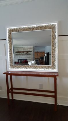 Lighted Luxury Mirror by Wylie Wood Creations. Gorgeous lighted mirror with natural stone trim. Perfect for bathroom, closet or as a beautiful statement in any room. One of a kind. Backlit Mirror, Lighted Vanity Mirror, Led Mirror, Mirror With Lights, Luxury Mirror, Wood Creations, Custom Lighting, Hand Designs, Home Accents