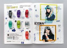 "Fashion Magazine ""mini"" ©takarajimasha Illustration & Editorial Design for ""NIXON"". Book Design, Layout Design, Web Design, Graphic Design, Editorial Layout, Editorial Design, Dm Poster, Catalogue Layout, Placemat Design"