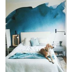 Blue Watercolor Wallpaper #wallpaper #bedroominspiration #bedroomdecor