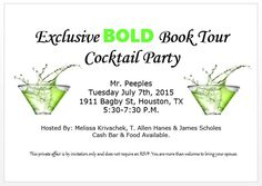 August 6th Bold Book Tour kicks off at the Houston club. Get your tickets at: http://www.boldbooktour.com/