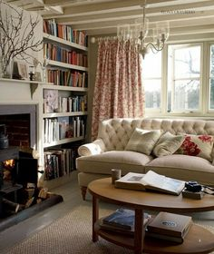 Wohnen Cozy living room - ISSUU - Laura Ashley Home Autumn Winter 2013 by Laura Ashley Middle East I Cottage Living Rooms, My Living Room, Home And Living, Living Spaces, English Living Rooms, Modern Living, Country Living Rooms, Red Curtains Living Room, Country Cottage Bedroom