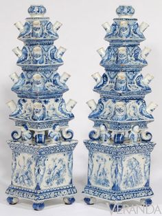 blue and white tulip vases. ca. late 17th c.