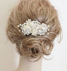 Ivory Bridal Hair Comb- Ivory Clip- Rhinestone& Pearls- Vintage Hair Piece- Wedding Hair Accessories- Fascinator-Pearl hairpiece-Bridal comb on Etsy, $59.00