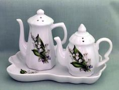 Lily of the Valley Porcelain Teapot Salt and Pepper Set on Tray