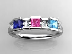 3 Birthstone Princess Mothers Ring by Christopher Michael with Diamond Accent