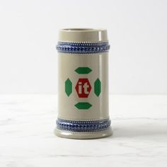 624g GRAY BLUE DESIGN ITALIA   SPORT CATCHES Beer Stein - blue gifts style giftidea diy cyo