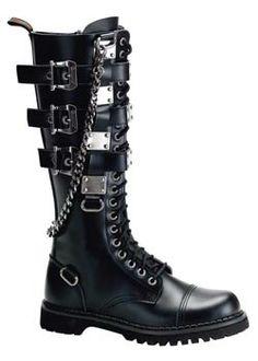 GRAVEL-23 Black Leather Boots $209.95 @ rivethead.com